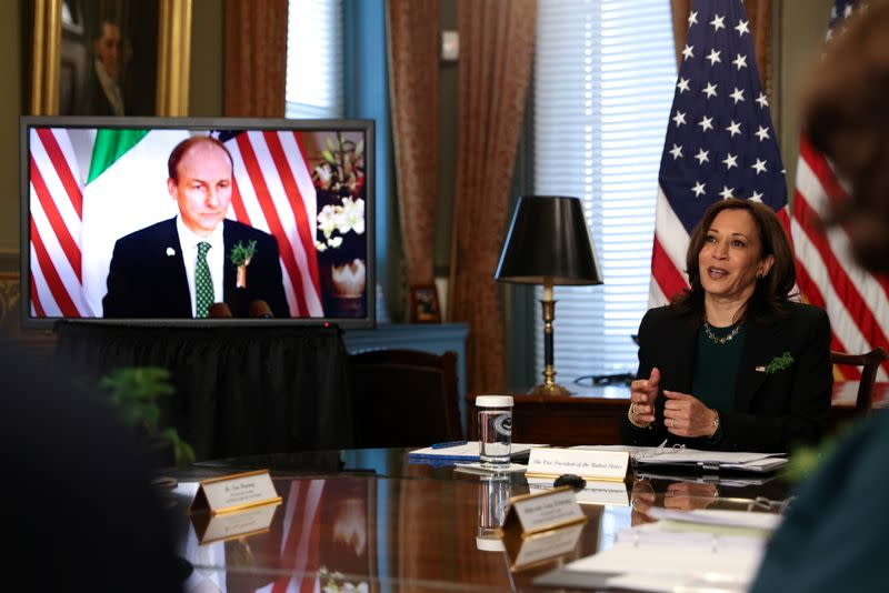 Vice President Kamala Harris holds a virtual bilateral meeting with Ireland's Prime Minister Micheal Martin at the White House in Washington