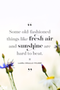 <p>Some old-fashioned things like fresh air and sunshine are hard to beat.</p>