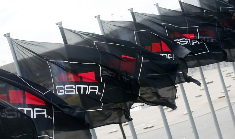 GSMA flags fly at the Mobile World Congress in Barcelona
