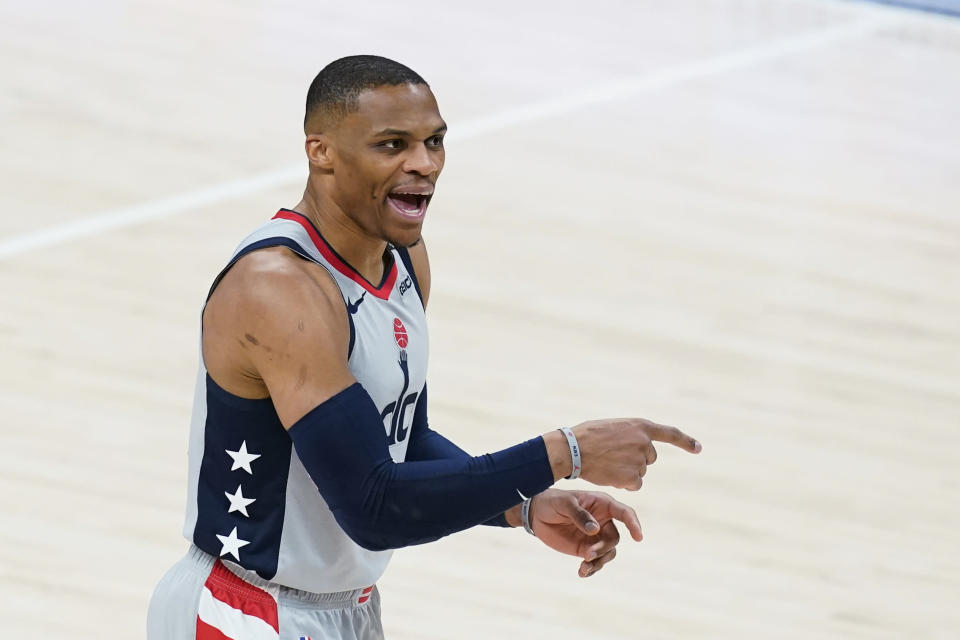 Washington Wizards' Russell Westbrook shouts instructions during the first half of the team's NBA basketball game against the Indiana Pacers, Saturday, May 8, 2021, in Indianapolis. (AP Photo/Darron Cummings)
