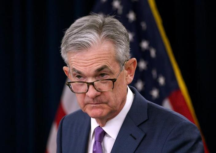 """Fed Chairman Jerome Powell has said the central bank will """"act as appropriate"""" to sustain GDP growth (AFP Photo/ANDREW CABALLERO-REYNOLDS)"""