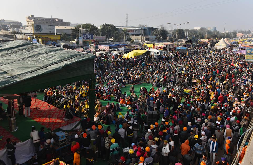 NEW DELHI, INDIA  DECEMBER 15: An overview of the Singhu Border protest site where farmers are camped in protest against new farm laws, near Delhi, on December 15, 2020 in New Delhi, India. Thousands of farmers have gathered on Delhis borders since November 26 to protest against the three contentious laws. They are protesting the three legislation The Farmers Produce Trade and Commerce (Promotion and Facilitation) Act, 2020, the Farmers (Empowerment and Protection) Agreement on Price Assurance and Farm Services Act, 2020 and the Essential Commodities. (Photo by Sanchit Khanna/Hindustan Times via Getty Images)