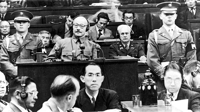 Former Japanese Prime Minister Hideki Tojo seen during his trial for war crimes in 1948