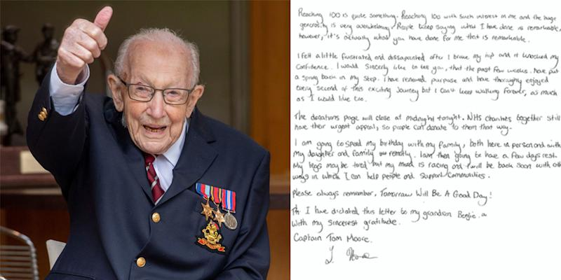 Captain Tom Moore has thanked the nation for its support on his 100th birthday. (Pictures: AP/PA)