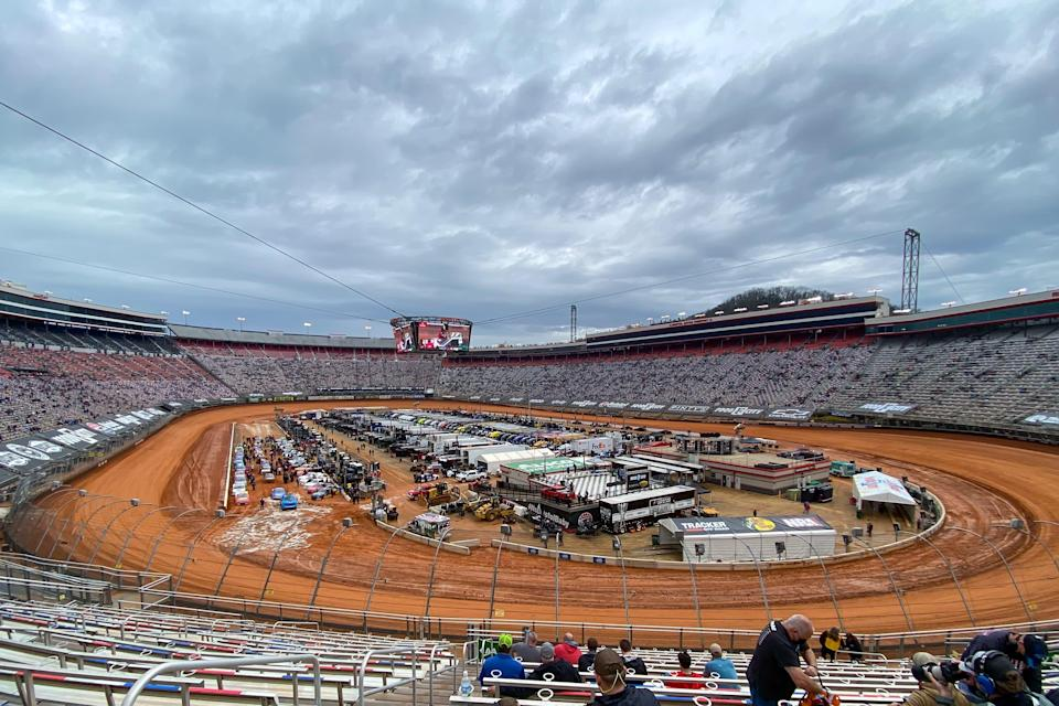Bristol Motor Speedway has been turned into a dirt track for Sunday's NASCAR Cup Series and Truck Series races.