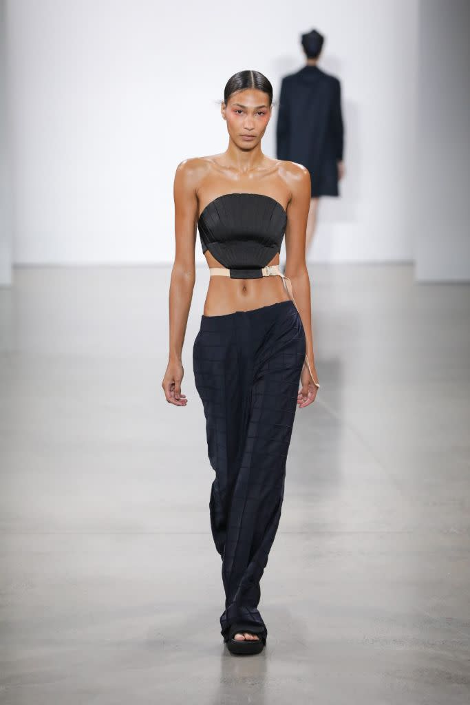 Bevza's tube top and low-rise pant pairing. - Credit: Courtesy of Bevza