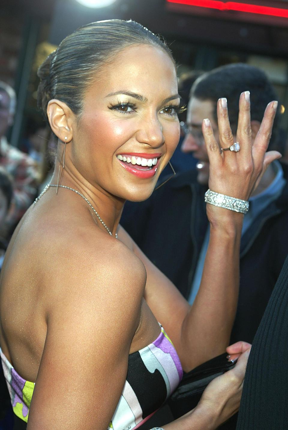 <p>J Lo received an 8.5-carat, blue diamond ring from Marc Anthony in 2004, reportedly costing £3.1 million. <i>[Photo: Getty]</i> </p>