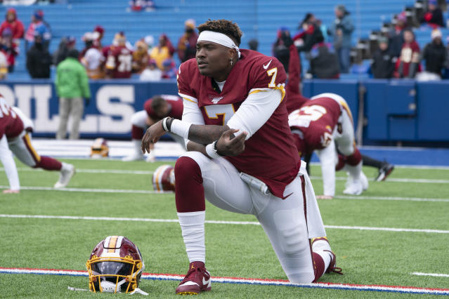 Rookie first-round pick Dwayne Haskins made his first start for Washington on Sunday in Buffalo. (Gregory Fisher/Getty Images)