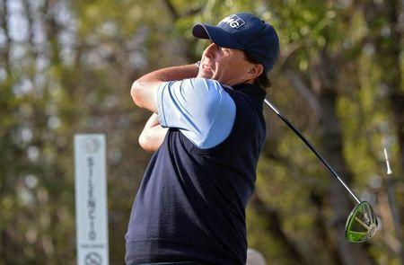 Mar 2, 2017; Mexico City, MEX; Phil Mickelson plays his shot from the 15th tee during the first round of the WGC - Mexico Championship golf tournament  at Club de Golf Chapultepec. Mandatory Credit: Orlando Ramirez-USA TODAY Sports