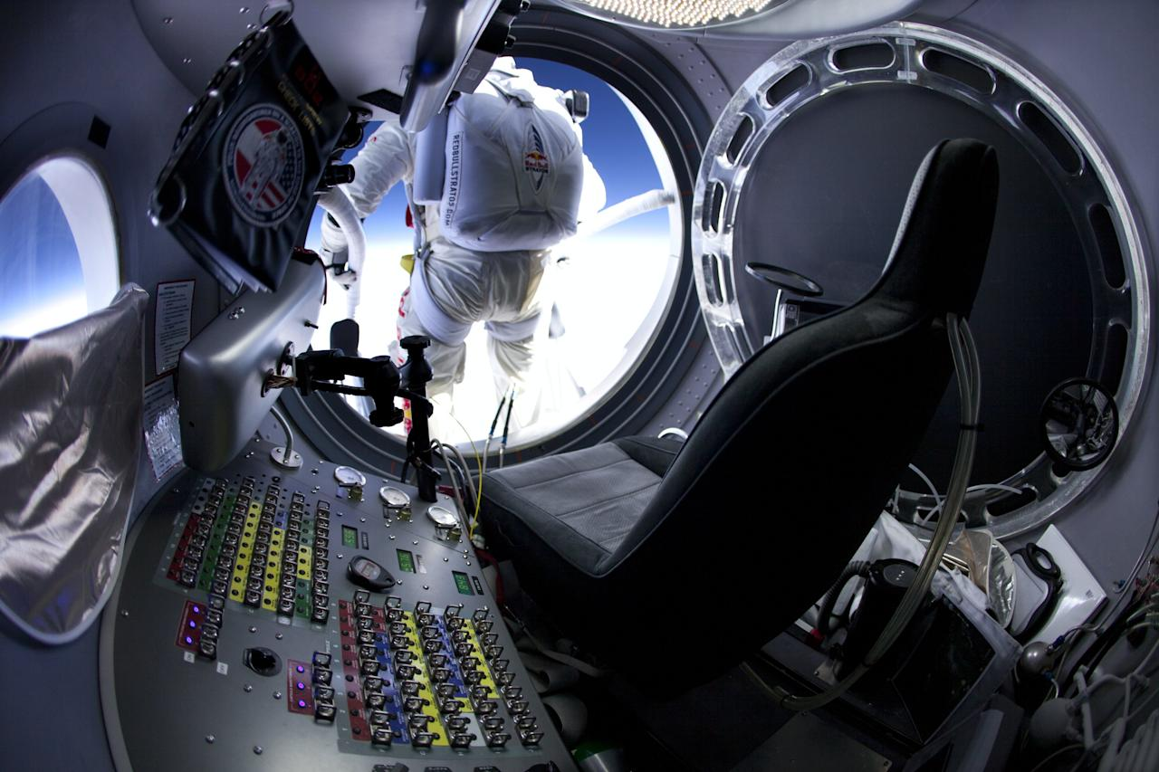 Pilot Felix Baumgartner of Austria seen before his jump at the first manned test flight for Red Bull Stratos in Roswell, New Mexico, USA on March 15 2012. In this test he reach the altitude 21800 meters (71500 ft) and landed safely near Roswell. (Photo courtesy of Red Bull Stratos)