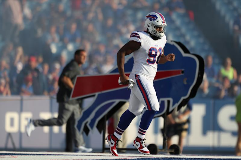 ORCHARD PARK, NEW YORK - AUGUST 08: Ed Oliver #91 of the Buffalo Bills runs on the field before a preseason game against the Indianapolis Colts at New Era Field on August 08, 2019 in Orchard Park, New York. (Photo by Bryan M. Bennett/Getty Images)