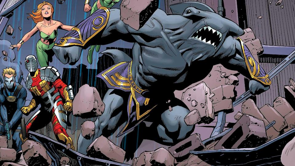 King Shark in the New 52 finds a permanent home with the Suicide Squad, and permanent enemy in Aquaman.