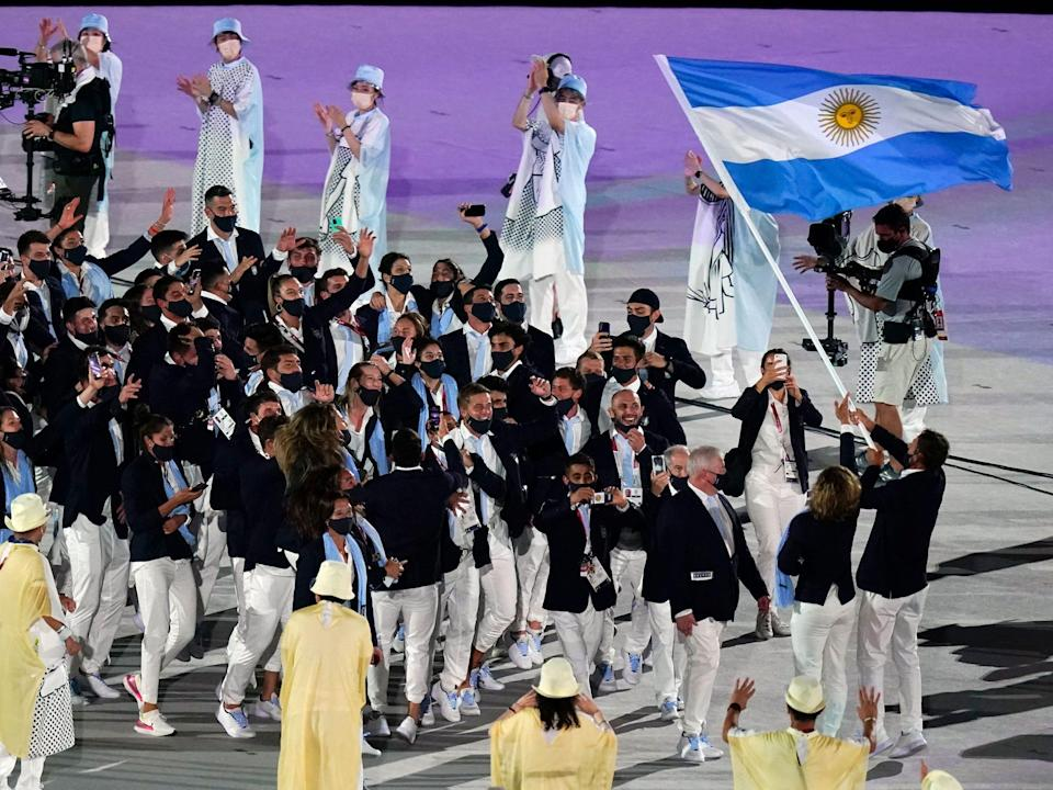 Athletes from Argentina make their entrance at the Summer Olympics.
