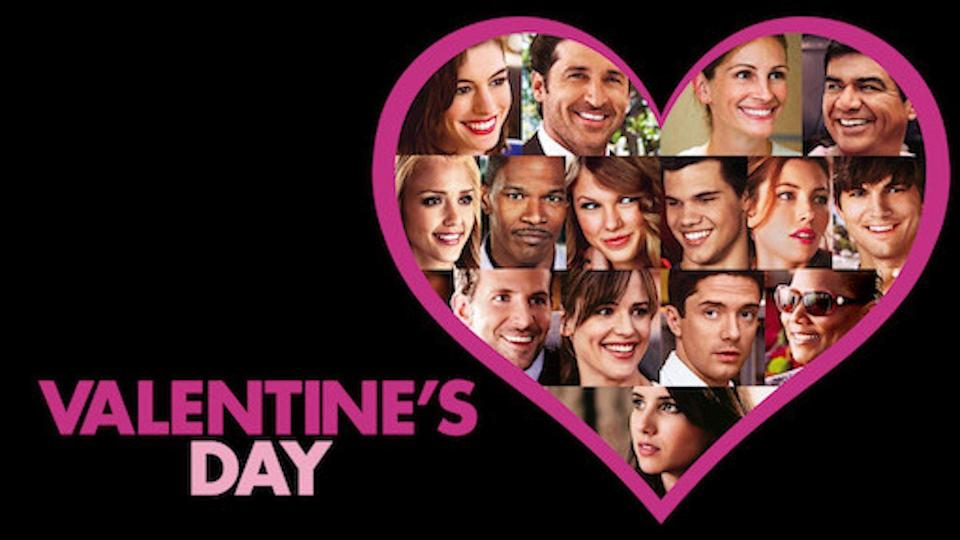 """<p><em>Valentine's Day</em> is about — you guessed it — Valentine's Day, but from a dozen different characters perspectives and relationships. This is a pretty cheesy one, but the star-studded cast makes it fun. And, of course, it's filled with romance.</p><p><a class=""""link rapid-noclick-resp"""" href=""""https://www.netflix.com/watch/70124804?trackId=250326522&tctx=3%2C1%2Cd5b0d0ef-f0e6-4106-b97d-8bc34a9675a1-2290949%2C5cbbe50e-eb49-4e6d-90f2-9b43d6720b52_2689722X54XX1607728927634%2C5cbbe50e-eb49-4e6d-90f2-9b43d6720b52_ROOT%2C"""" rel=""""nofollow noopener"""" target=""""_blank"""" data-ylk=""""slk:STREAM NOW"""">STREAM NOW</a></p>"""