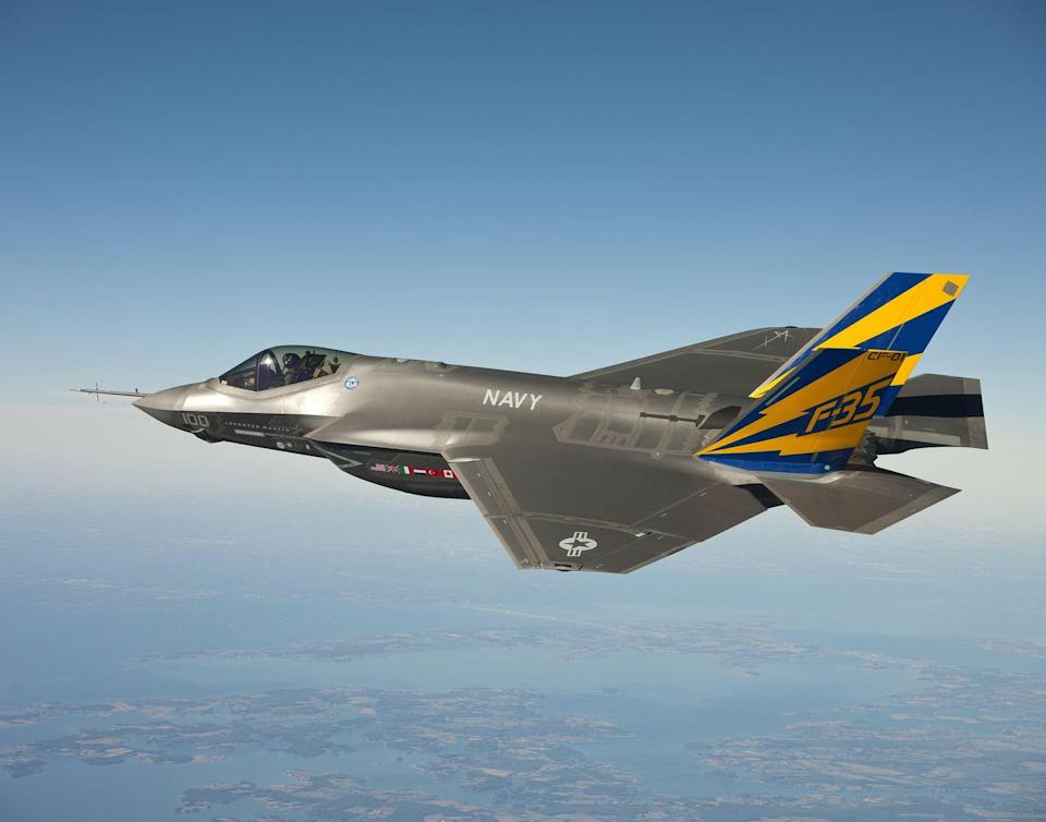 """<p>America's newest operational multi-role fighter, the F-35, serves with the U.S. Air Force, Navy, Marine Corps, and allied nations. Different versions of the plane can fly from conventional runways, make <a href=""""https://www.lockheedmartin.com/en-us/products/f-35/f-35-about.html#c_cv"""" rel=""""nofollow noopener"""" target=""""_blank"""" data-ylk=""""slk:short takeoffs and land vertically"""" class=""""link rapid-noclick-resp"""">short takeoffs and land vertically</a>, or operate from aircraft carriers. The F-35 is expected to <a href=""""https://www.flightglobal.com/lockheed-f-35-service-life-extended-to-2070/120105.article"""" rel=""""nofollow noopener"""" target=""""_blank"""" data-ylk=""""slk:serve through the year 2070"""" class=""""link rapid-noclick-resp"""">serve through the year 2070</a>.</p>"""