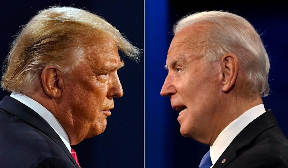 US President Donald Trump and his Democratic rival Joe Biden during the final presidential debate at Belmont University in Nashville, Tennessee, on Thursday. Photos: AFP