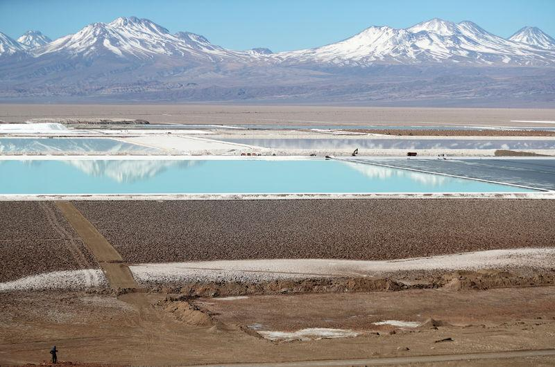 FILE PHOTO: Brine pools from a lithium mine, that belongs U.S.-based Albemarle Corp, is seen on the Atacama salt flat in the Atacama desert