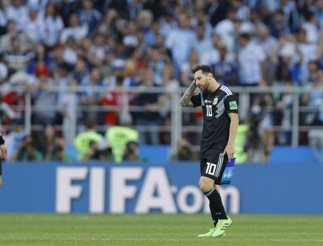 Argentina's Lionel Messi reacts after draw 1-1 in the group D match between Argentina and Iceland at the 2018 soccer World Cup in the Spartak Stadium in Moscow, Russia, Saturday, June 16, 2018. (AP Photo/Victor Caivano)