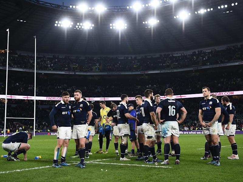 Scotland were hammered at Twickenham as their Six Nations bid imploded: Getty