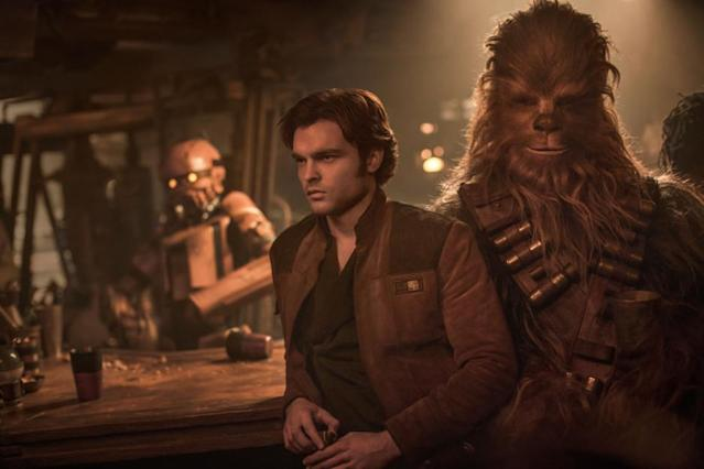 Alden Ehrenreich as Han Solo, with Chewbacca, in <em>Solo: A Star Wars Story.</em> (Photo: Disney)