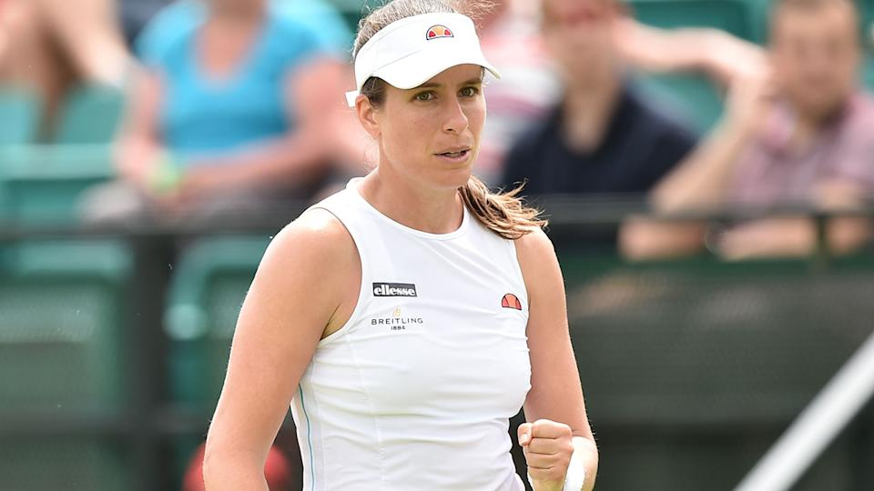 Johanna Konta, pictured here in action during the final at Nottingham.