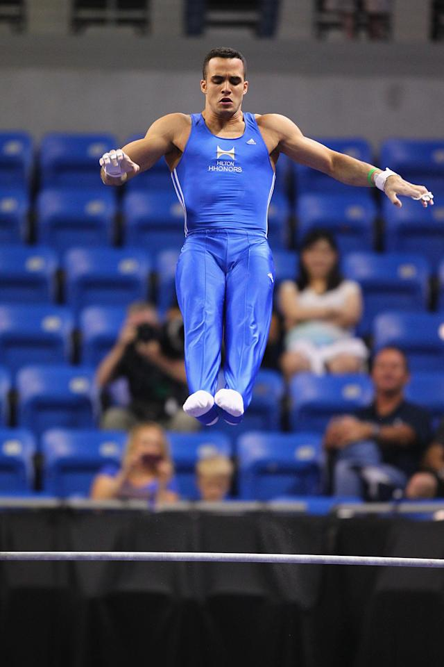 ST. LOUIS, MO - JUNE 7: Danell Levya competes on the high bar during the Senior Men's competition on day one of the Visa Championships at Chaifetz Arena on June 7, 2012 in St. Louis, Missouri. (Photo by Dilip Vishwanat/Getty Images)