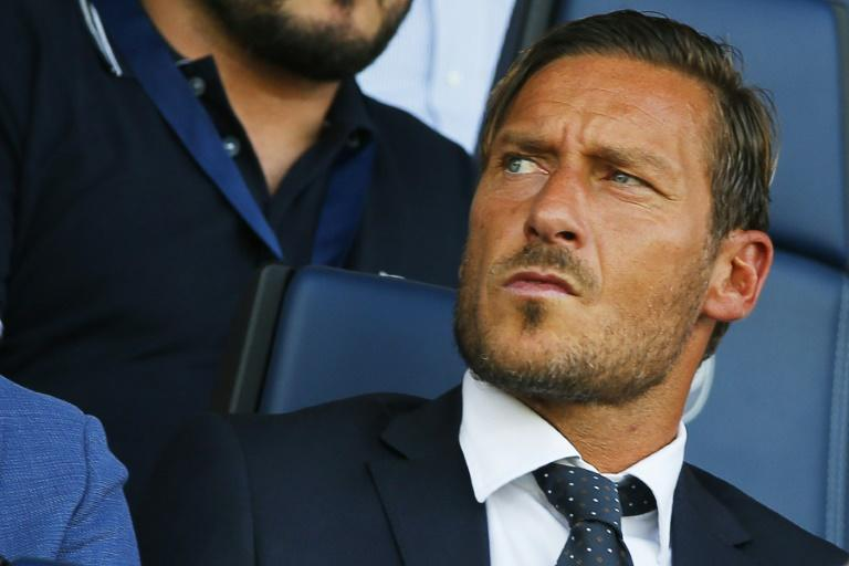 Roma's Francesco Totti attends their Italian Serie A football match against Atalanta on August 20, 2017 at the Atleti Azzurri d'Italia stadium in Bergamo