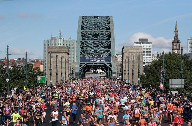 Runners cross the River Tyne at the 2017 Great North Run
