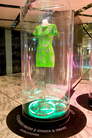 A collaboration between Ginger & Smart and Alessandro Pavoni (Spiedo Restaurant and Bar). This dress is inspired by the upcoming spring/summer collection by Ginger & Smart. It features a textural neon dress made of risoni pasta crust, glazed with neon green paint and hand-painted silver floral detailing.