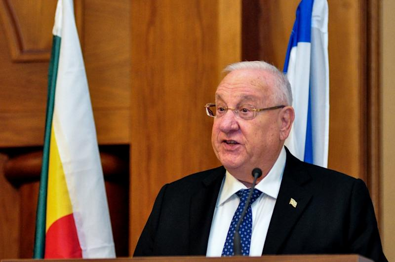 Israel's President Reuven Rivlin addresses journalists on May 3, 2018 during a visit to Ethiopia