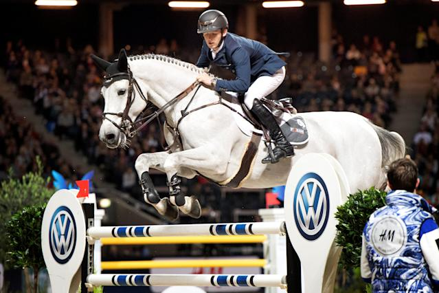 Equestrian - Sweden International Horse Show - FEI Grand Prix Two Rounds - Friends Arena, Stockholm, Sweden - December 3, 2017 - Bertram Allen of Ireland rides his horse Gin Chin Van Het Lindenhof. TT News Agency/Jessica Gow via REUTERS ATTENTION EDITORS - THIS IMAGE WAS PROVIDED BY A THIRD PARTY. SWEDEN OUT. NO COMMERCIAL OR EDITORIAL SALES IN SWEDEN