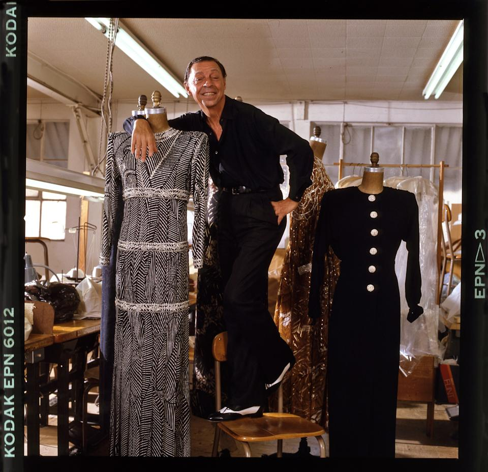 James Galanos in his atelier in Los Angeles in 1985. Photographed for Vanity Fair.