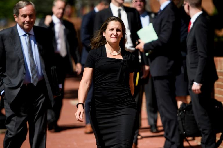 Canada's Foreign Minister Chrystia Freeland led an unusually large entourage to Washington for talks to rewrite the North American Free Trade Agreement