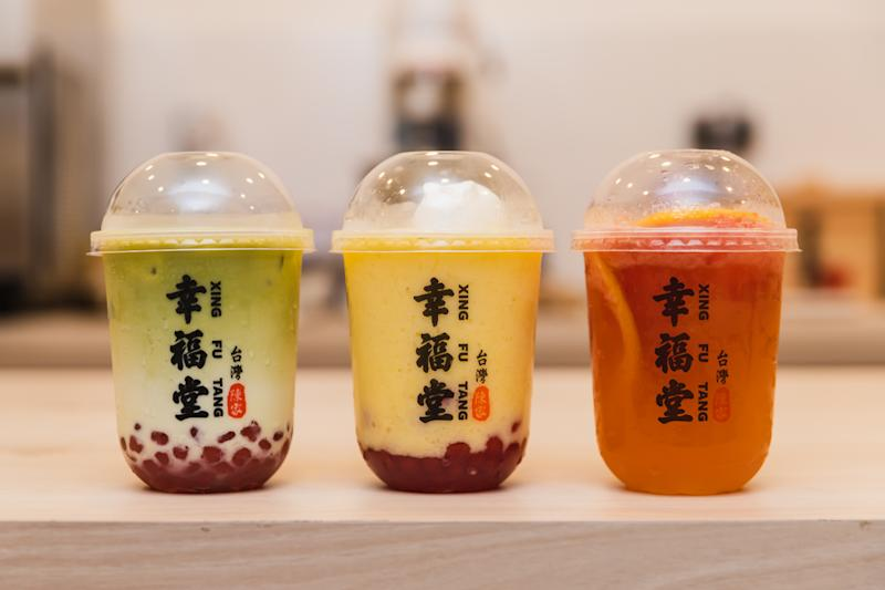 L-R_ Matcha Boba Milk, Mango Smoothie and Rabbit Panna Cotta, Grapefruit Green Tea. (PHOTO: Xing Fu Tang)