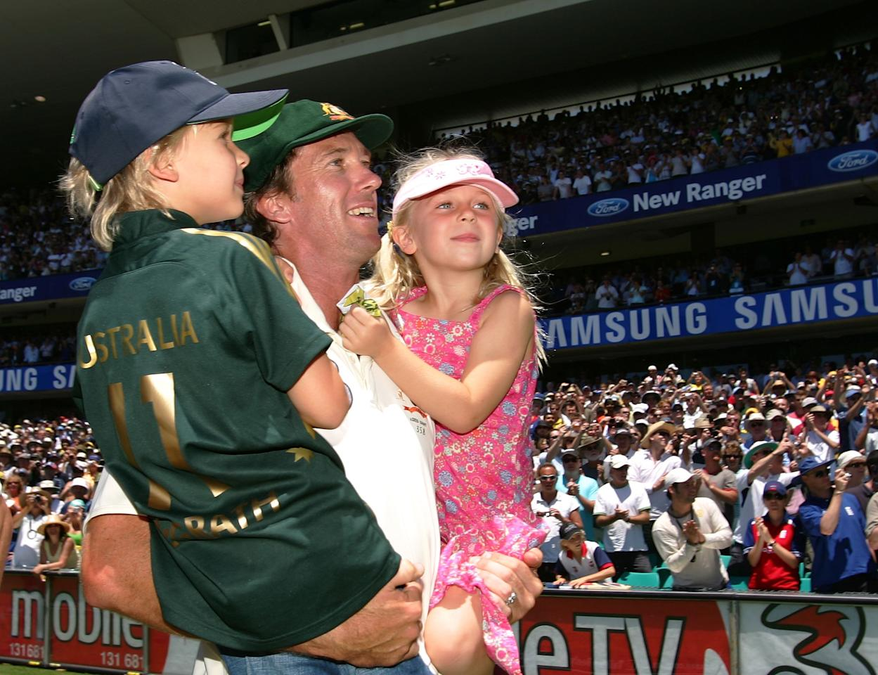 SYDNEY, AUSTRALIA - JANUARY 05:  Glenn McGrath of Australia walks with his children after winning the fifth ashes test on day four of the fifth Ashes Test Match between Australia and England at the Sydney Cricket Ground on January 5, 2007 in Sydney, Australia.  (Photo by Hamish Blair/Getty Images)