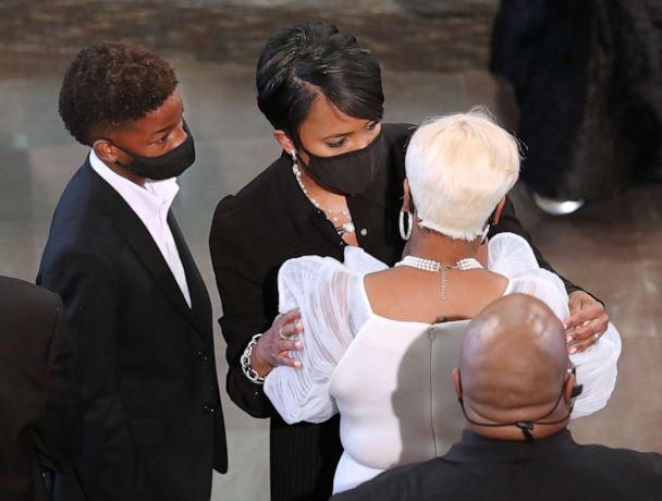 PHOTO: Mayor Keisha Lance Bottoms (left) consoles Tomika Miller, the wife of Rayshard Brooks, at the conclusion of his funeral in Ebenezer Baptist Church, June 23, 2020, in Atlanta. (Curtis Compton/Pool/Getty Images)