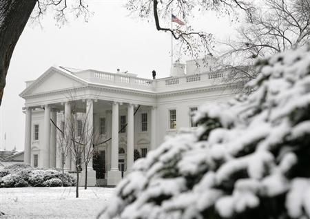 The White House is seen after snow hit the Washington area