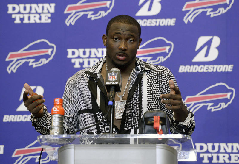 FILE - In this Sept. 24, 2017, file photo, Buffalo Bills running back LeSean McCoy talks to reporters after an NFL football game against the Denver Broncos, in Orchard Park, N.Y. McCoy says an allegation posted on social media accusing him of bloodying his former girlfriend's face is baseless and false. An Instagram post Tuesday, July 10, 2018, from a person who says she is friends with the woman showed a graphic photo of the former girlfriend and accuses McCoy of physically abusing her, his son and his dog, as well as injecting steroids. (AP Photo/Adrian Kraus, File)