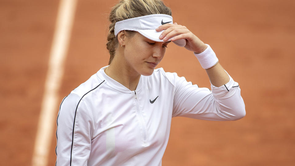 Eugenie Bouchard, pictured here in action against Iga Swiatek at the French Open.