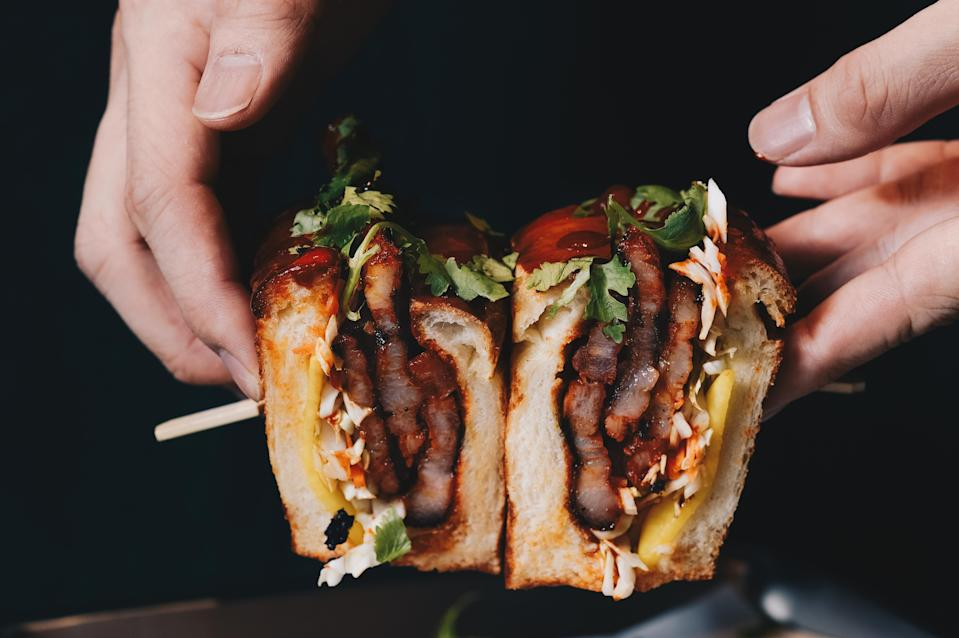 <p>辣韓胖豬 | Sticky pork belly slab in a butter roll  (Courtesy of LBC)</p>