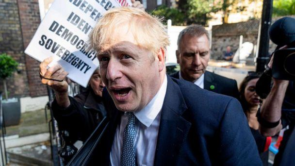 PHOTO: Conservative MP and leadership contender Boris Johnson arrives at his campaign headquarters in central London on July 23, 2019. (Niklas Halle'n/AFP/Getty Images)