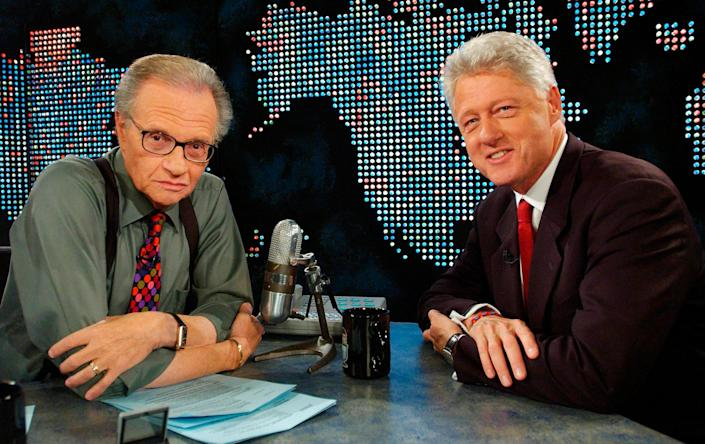 "Former President Bill Clinton on CNN's ""Larry King Live"" on Sept. 3, 2002. (Photo: Reuters)"