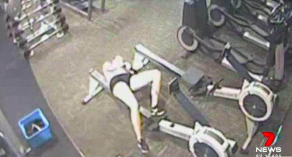 Confronting footage shows the moment Emily Counter suddenly collapsed while on the rowing machine. Source: 7News