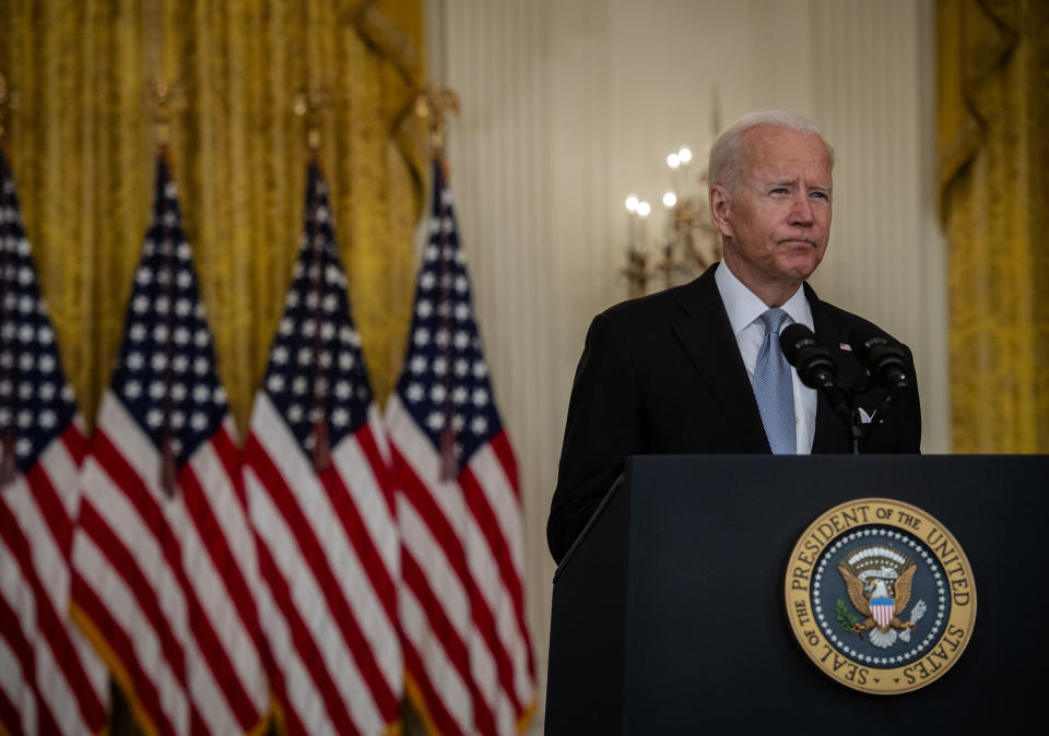 Washington, DC - August 16:  President Joe Biden delivers remarks on the situation in Afghanistan in the East Room of the White House, in Washington, DC.  (Photo by Bill O'Leary/The Washington Post via Getty Images)
