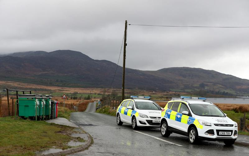A police road block near the scene of the crash, Trawsfynydd, Rhinog Mountains, Snowdonia, North Wales - Credit: Paul Greenwood/Athena Pictures