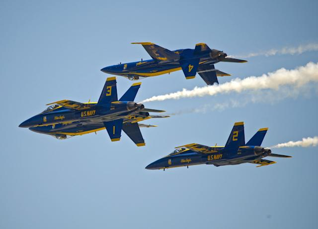 KEY WEST, FL - MARCH 23: (NO SALES, EDITORIAL USE ONLY) In this photo provided by the Florida Keys News Bureau,the U.S. Navy's Blue Angels perform their precision aerobatics over the Florida Keys during the Southernmost Air Spectacular at Naval Air Station Key West on March 23, 2013, in Key West, Florida. The weekend air show concludes Sunday, March 24, and may mark the the last Blue Angels performance through the end of September 2013 due to sequester budget cuts. (Rob O'Neal/Florida Keys News Bureau via Getty Images)