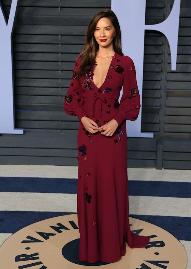 <p>Burgundy was a popular color choice on the night. (Photo: JEAN-BAPTISTE LACROIX/AFP/Getty Images) </p>