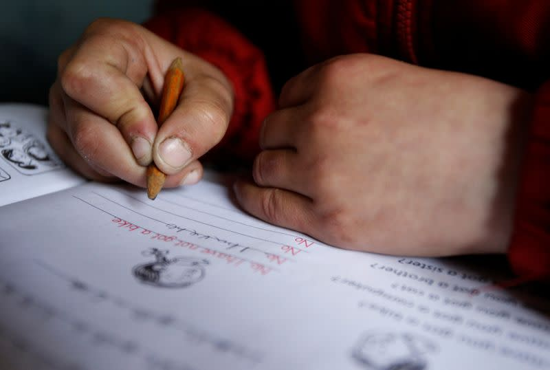 FILE PHOTO: Nine-year-old Bacho Tsiklauri writes in a school book during a lesson, at a school in the village of Makarta, north of Tbilisi