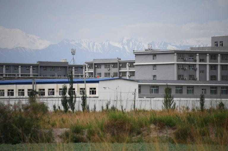 A facility believed to be a re-education camp north of Akto in Xinjiang. Rights groups say more than a million people from Muslim minorities are held in such camps (AFP Photo/GREG BAKER)