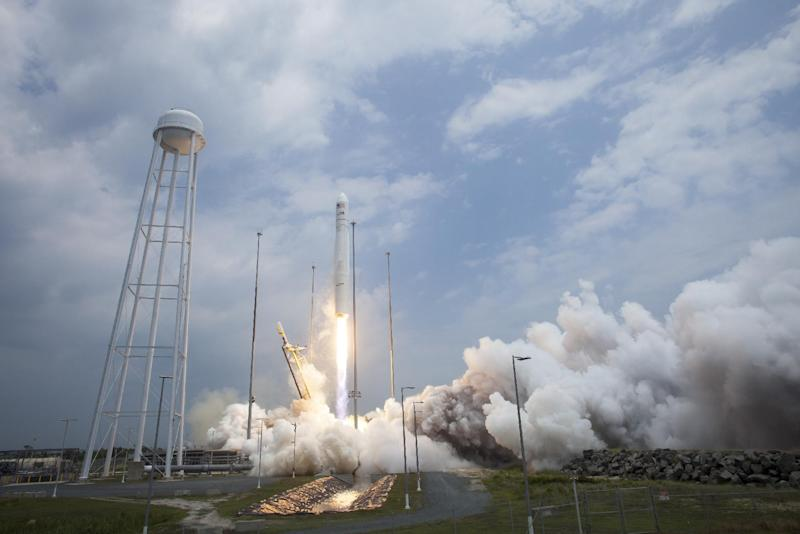 This picture provided by NASA shows the Orbital Sciences Corporation Antares rocket launching with the Cygnus spacecraft onboard on July 13, 2014, at NASA's Wallops Flight Facility in Virginia